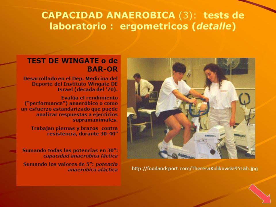 TEST DE WINGATE o de BAR-OR Desarrollado en el Dep. Medicina del Deporte del Instituto Wingate DE Israel (década del 70). Evalúa el rendimiento (perfo