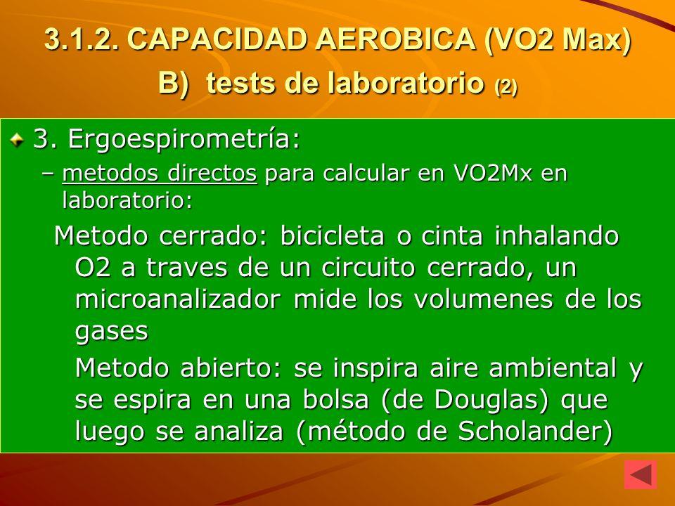 3.1.2. CAPACIDAD AEROBICA (VO2 Max) B) tests de laboratorio (2) 3. Ergoespirometría: –metodos directos para calcular en VO2Mx en laboratorio: Metodo c