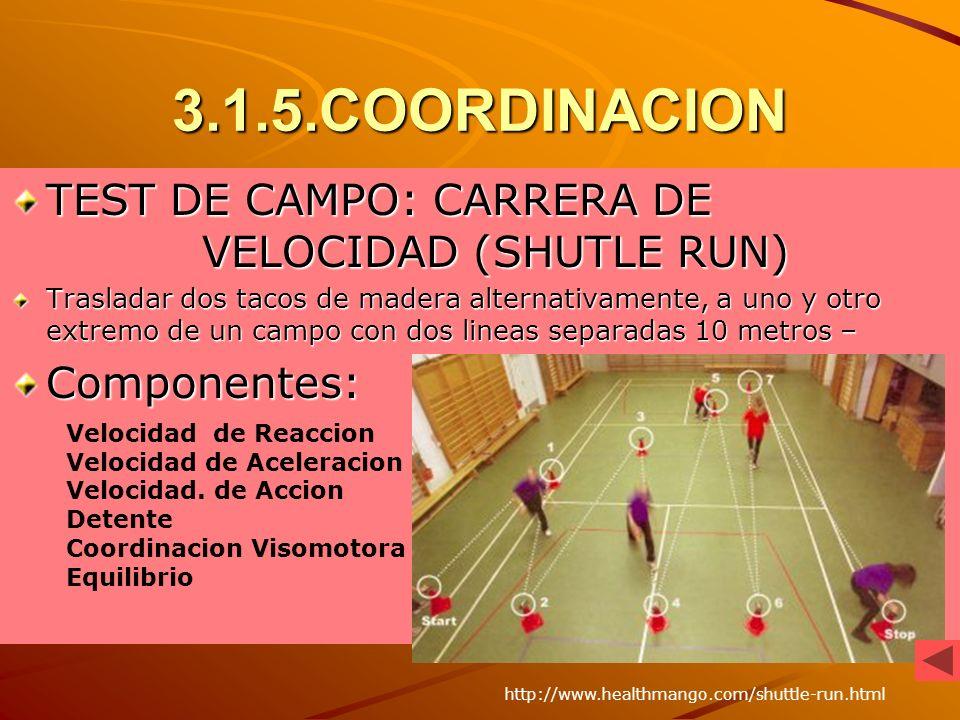 3.1.5.COORDINACION TEST DE CAMPO: CARRERA DE VELOCIDAD (SHUTLE RUN) Trasladar dos tacos de madera alternativamente, a uno y otro extremo de un campo c