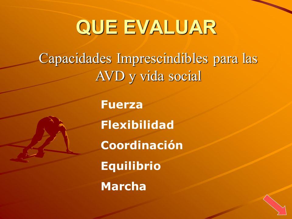 QUE EVALUAR Capacidades Imprescindibles para las AVD y vida social Fuerza Flexibilidad Coordinación Equilibrio Marcha