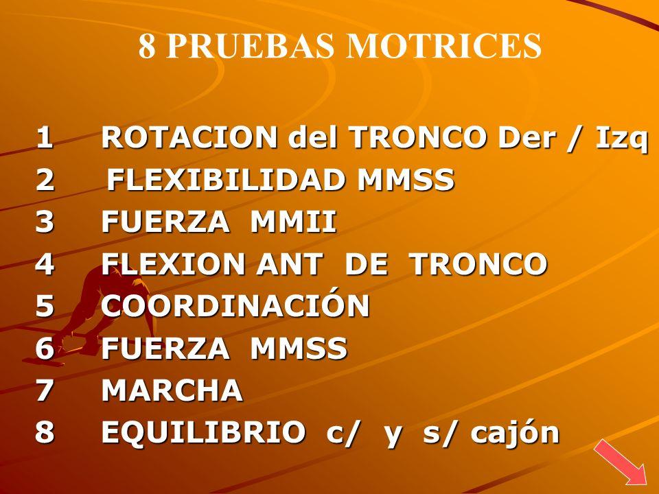 1 ROTACION del TRONCO Der / Izq 2 FLEXIBILIDAD MMSS 3 FUERZA MMII 4 FLEXION ANT DE TRONCO 5 COORDINACIÓN 6 FUERZA MMSS 7 MARCHA 8 EQUILIBRIO c/ y s/ c