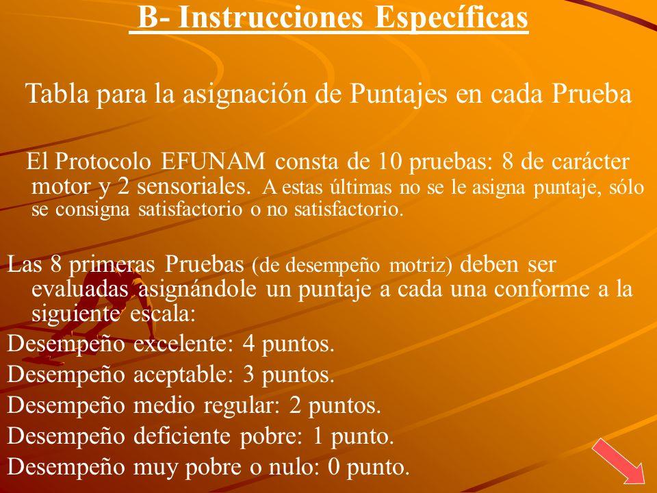 B- Instrucciones Específicas Tabla para la asignación de Puntajes en cada Prueba El Protocolo EFUNAM consta de 10 pruebas: 8 de carácter motor y 2 sen