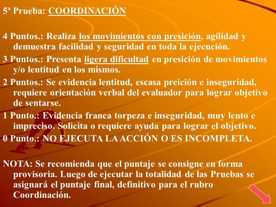 5ª Prueba: COORDINACIÓN 4 Puntos.: Realiza los movimientos con presición, agilidad y demuestra facilidad y seguridad en toda la ejecución. 3 Puntos.: