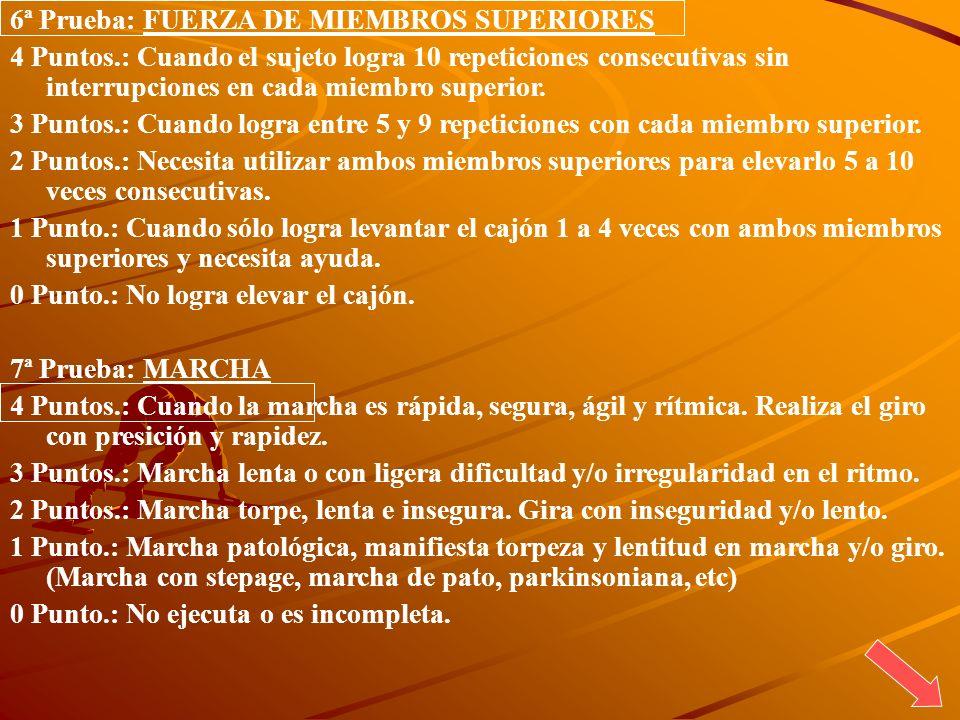 6ª Prueba: FUERZA DE MIEMBROS SUPERIORES 4 Puntos.: Cuando el sujeto logra 10 repeticiones consecutivas sin interrupciones en cada miembro superior. 3