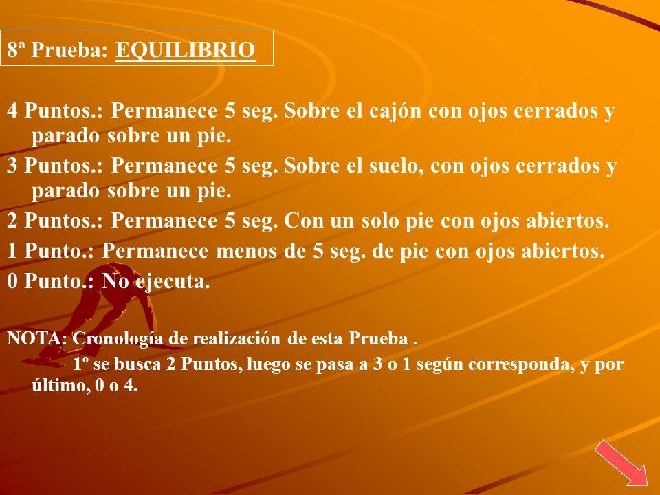 8ª Prueba: EQUILIBRIO 4 Puntos.: Permanece 5 seg. Sobre el cajón con ojos cerrados y parado sobre un pie. 3 Puntos.: Permanece 5 seg. Sobre el suelo,