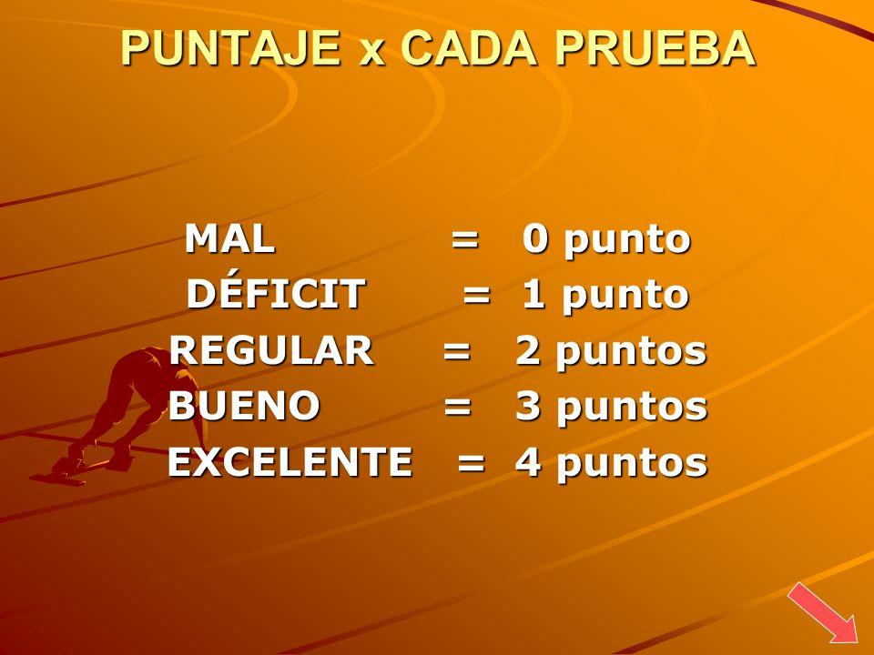PUNTAJE x CADA PRUEBA MAL = 0 punto DÉFICIT = 1 punto REGULAR = 2 puntos BUENO = 3 puntos EXCELENTE = 4 puntos