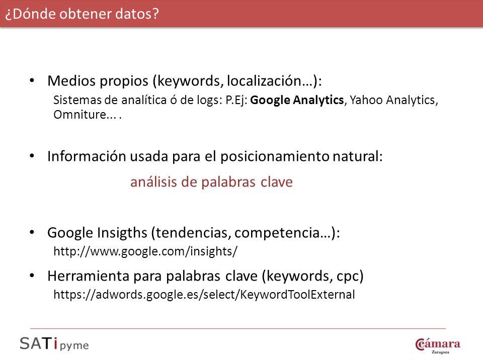 Medios propios (keywords, localización…): Sistemas de analítica ó de logs: P.Ej: Google Analytics, Yahoo Analytics, Omniture.... Información usada par