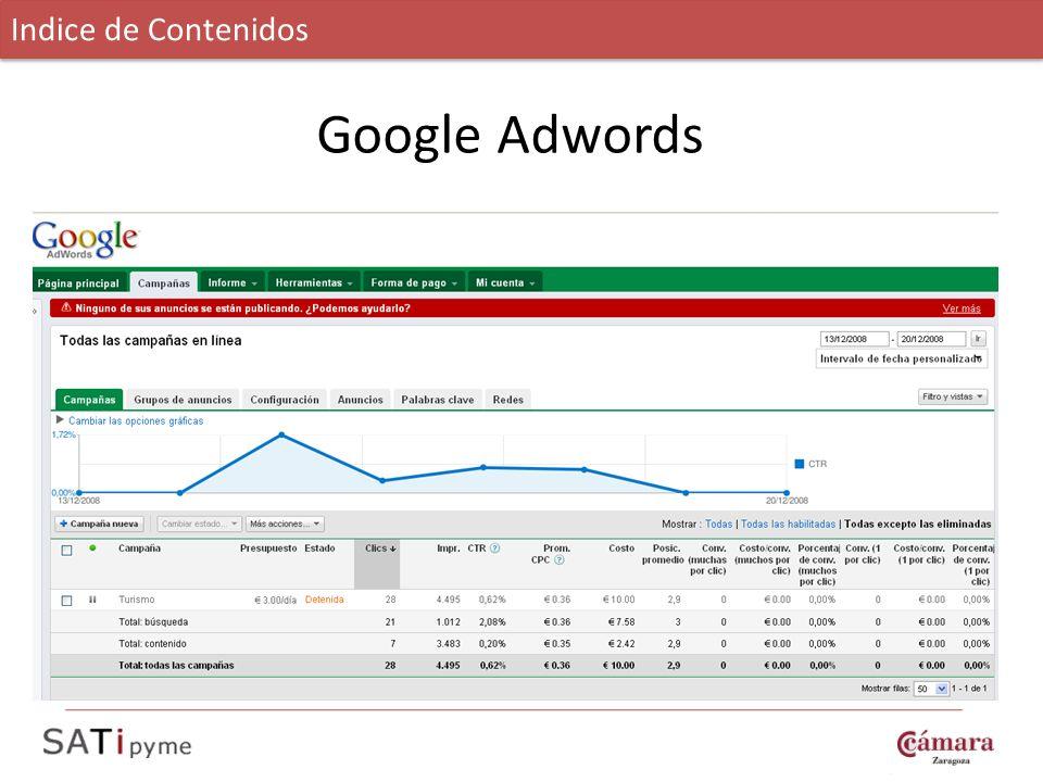 Google Adwords Indice de Contenidos