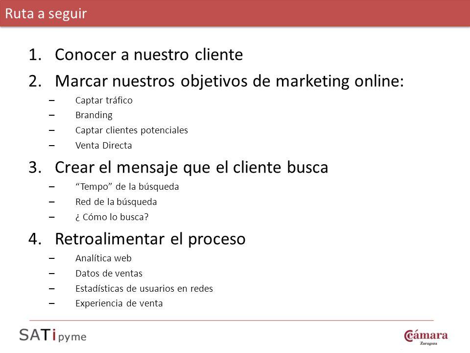 Ruta a seguir 1.Conocer a nuestro cliente 2.Marcar nuestros objetivos de marketing online: – Captar tráfico – Branding – Captar clientes potenciales –