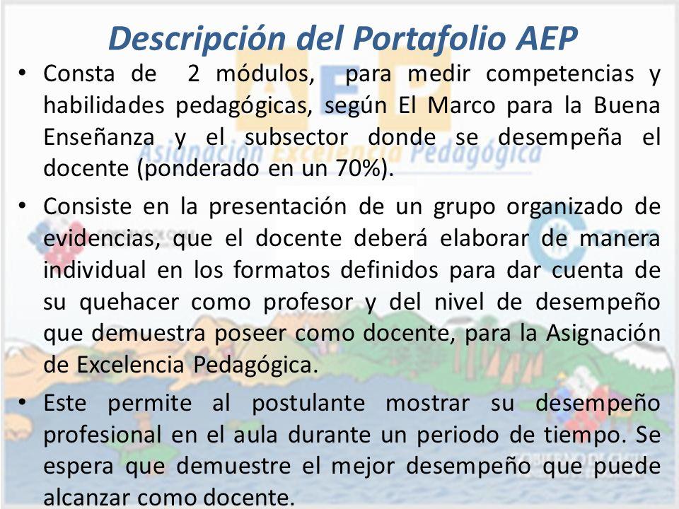 Consta de 2 módulos, para medir competencias y habilidades pedagógicas, según El Marco para la Buena Enseñanza y el subsector donde se desempeña el do