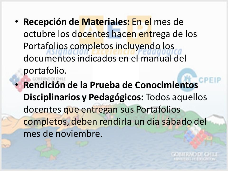 Recepción de Materiales: En el mes de octubre los docentes hacen entrega de los Portafolios completos incluyendo los documentos indicados en el manual