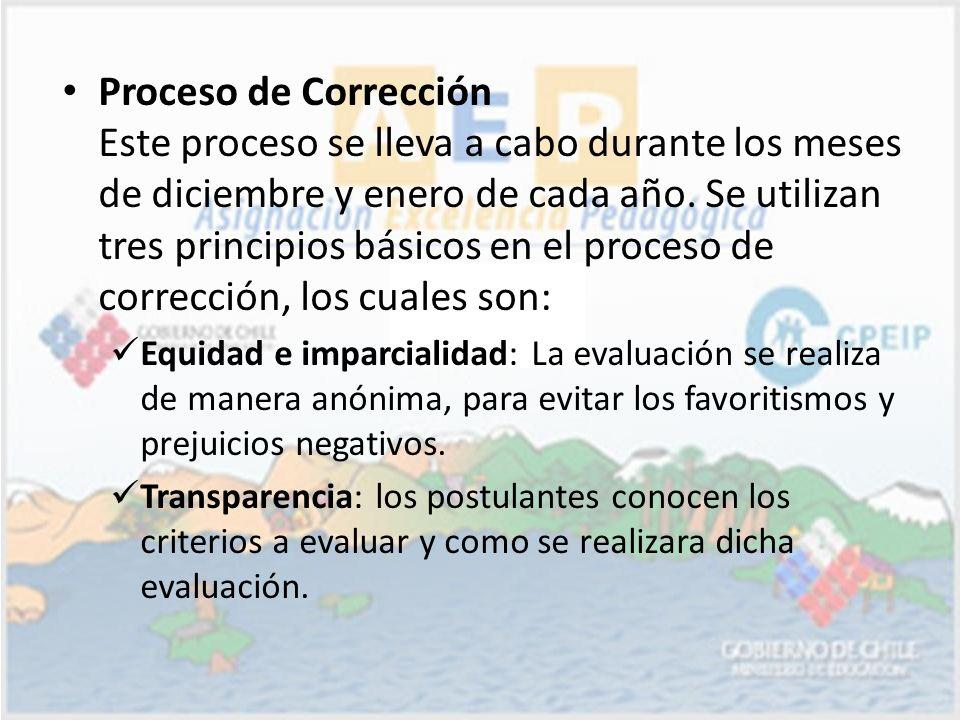 Proceso de Corrección Este proceso se lleva a cabo durante los meses de diciembre y enero de cada año. Se utilizan tres principios básicos en el proce