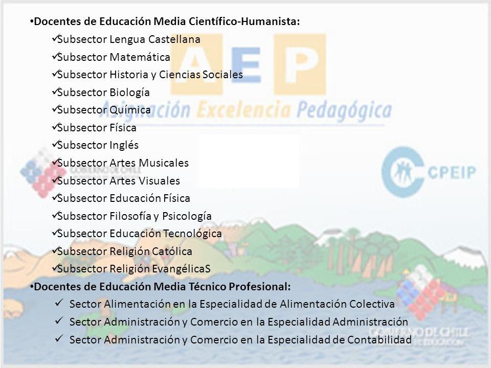 Docentes de Educación Media Científico-Humanista: Subsector Lengua Castellana Subsector Matemática Subsector Historia y Ciencias Sociales Subsector Bi