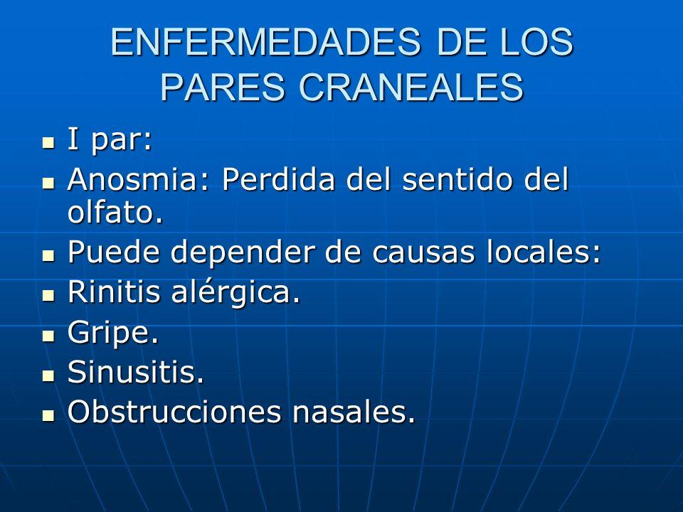 ENFERMEDADES DE LOS PARES CRANEALES I par: I par: Anosmia: Perdida del sentido del olfato. Anosmia: Perdida del sentido del olfato. Puede depender de