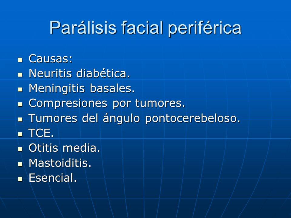 Parálisis facial periférica Causas: Causas: Neuritis diabética. Neuritis diabética. Meningitis basales. Meningitis basales. Compresiones por tumores.