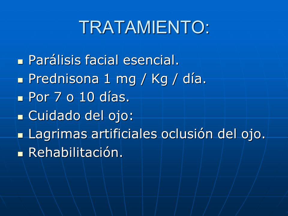 TRATAMIENTO: Parálisis facial esencial. Parálisis facial esencial. Prednisona 1 mg / Kg / día. Prednisona 1 mg / Kg / día. Por 7 o 10 días. Por 7 o 10