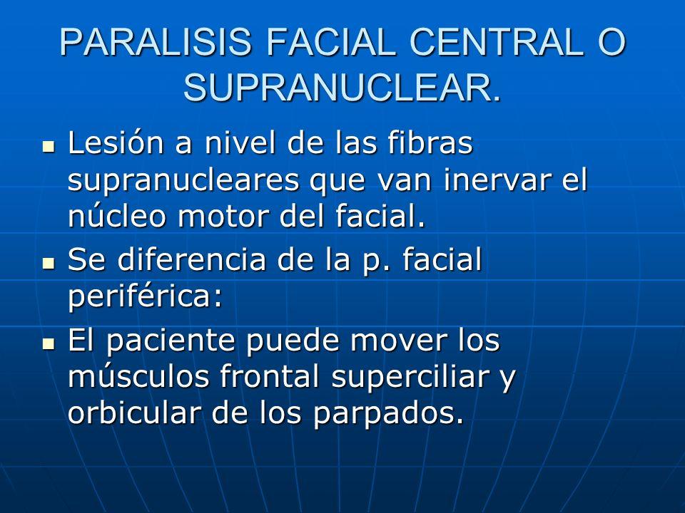 PARALISIS FACIAL CENTRAL O SUPRANUCLEAR. Lesión a nivel de las fibras supranucleares que van inervar el núcleo motor del facial. Lesión a nivel de las