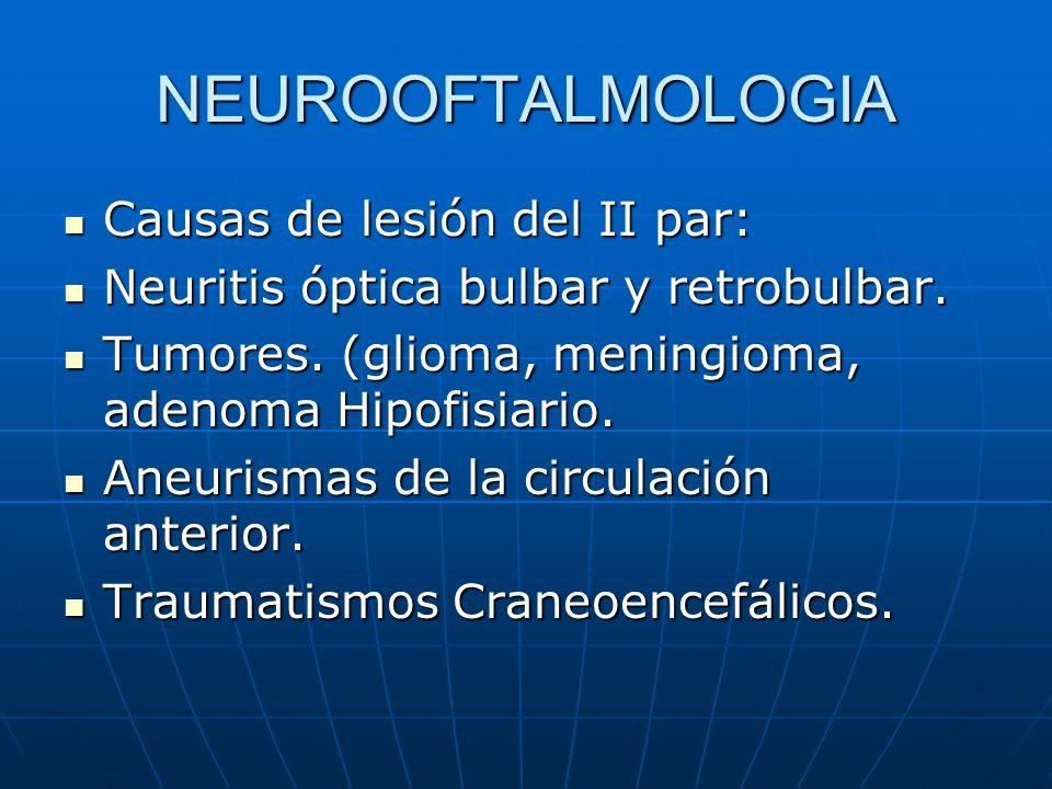 NEUROOFTALMOLOGIA Causas de lesión del II par: Causas de lesión del II par: Neuritis óptica bulbar y retrobulbar. Neuritis óptica bulbar y retrobulbar