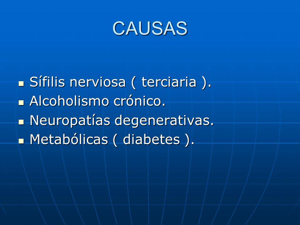 CAUSAS Sífilis nerviosa ( terciaria ). Sífilis nerviosa ( terciaria ). Alcoholismo crónico. Alcoholismo crónico. Neuropatías degenerativas. Neuropatía