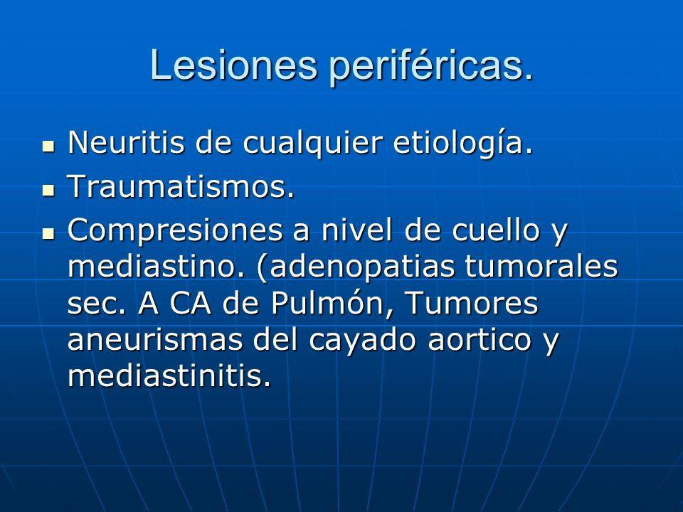 Lesiones periféricas. Neuritis de cualquier etiología. Neuritis de cualquier etiología. Traumatismos. Traumatismos. Compresiones a nivel de cuello y m