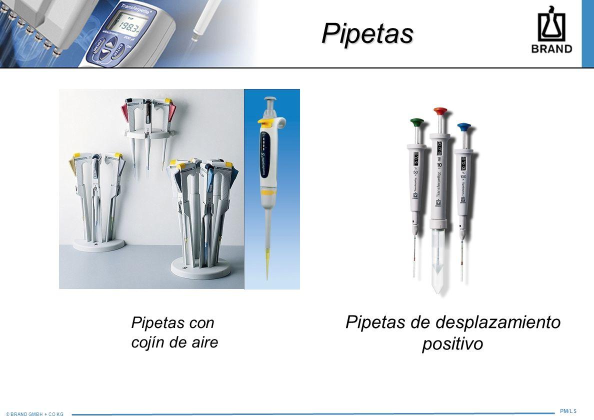© BRAND GMBH + CO KG PM/LS Pipetas con cojín de aire Pipetas de desplazamiento positivo Pipetas