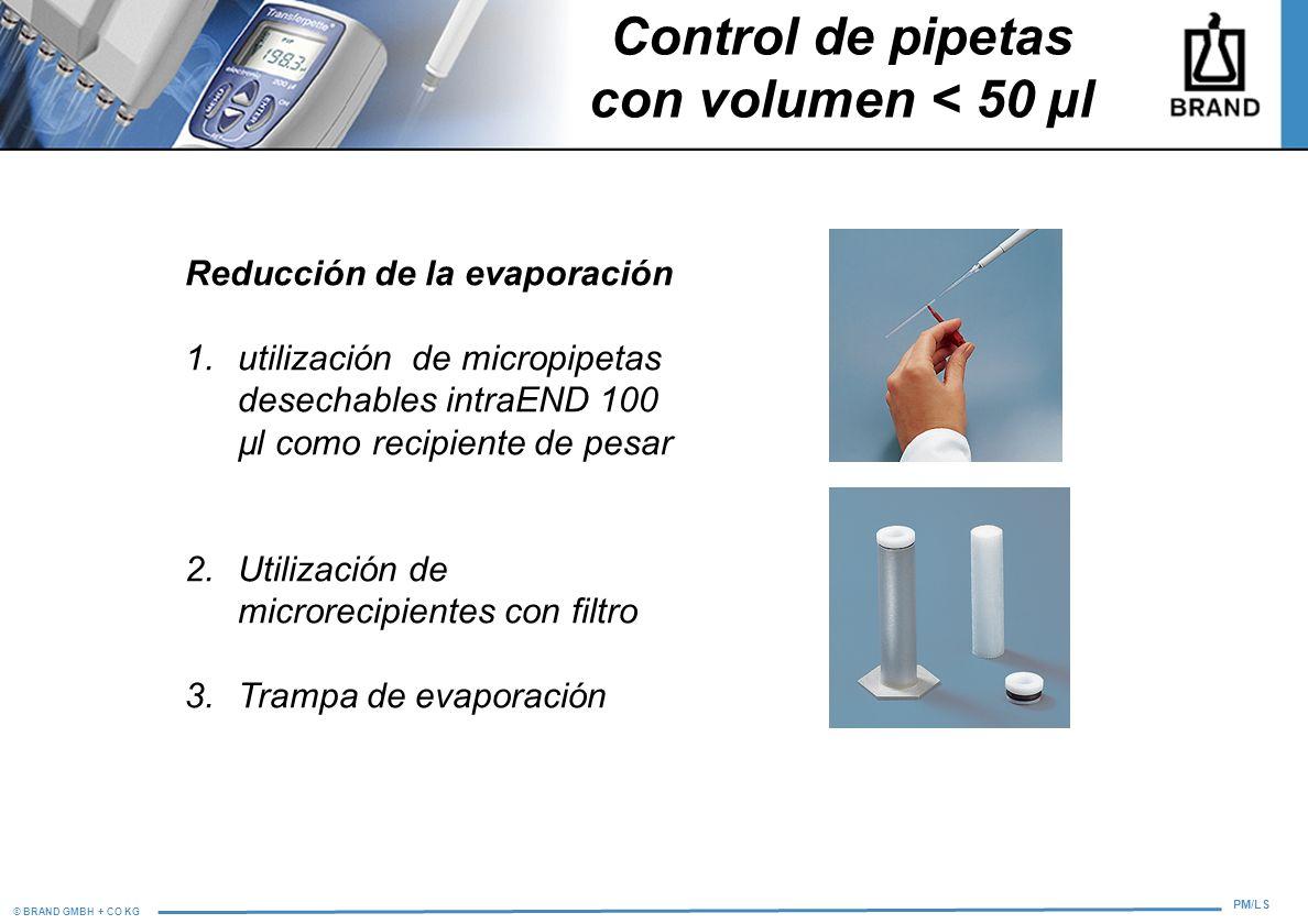 © BRAND GMBH + CO KG PM/LS Control de pipetas con volumen < 50 µl Reducción de la evaporación 1.utilización de micropipetas desechables intraEND 100 µ