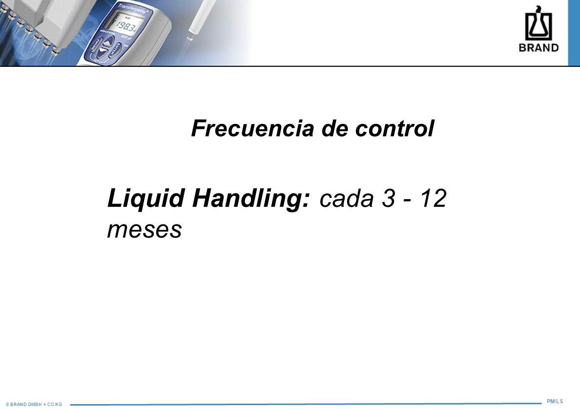 © BRAND GMBH + CO KG PM/LS Frecuencia de control Liquid Handling: cada 3 - 12 meses