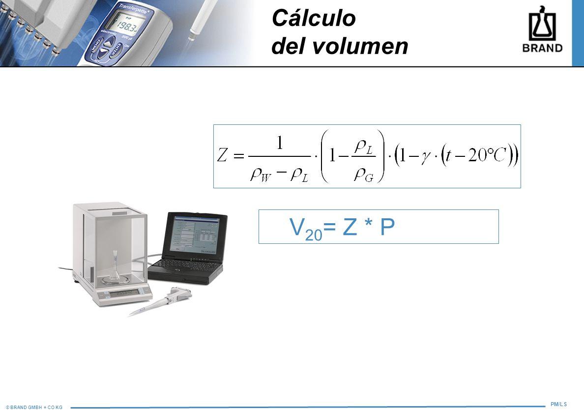 © BRAND GMBH + CO KG PM/LS V 20 = Z * P Cálculo del volumen