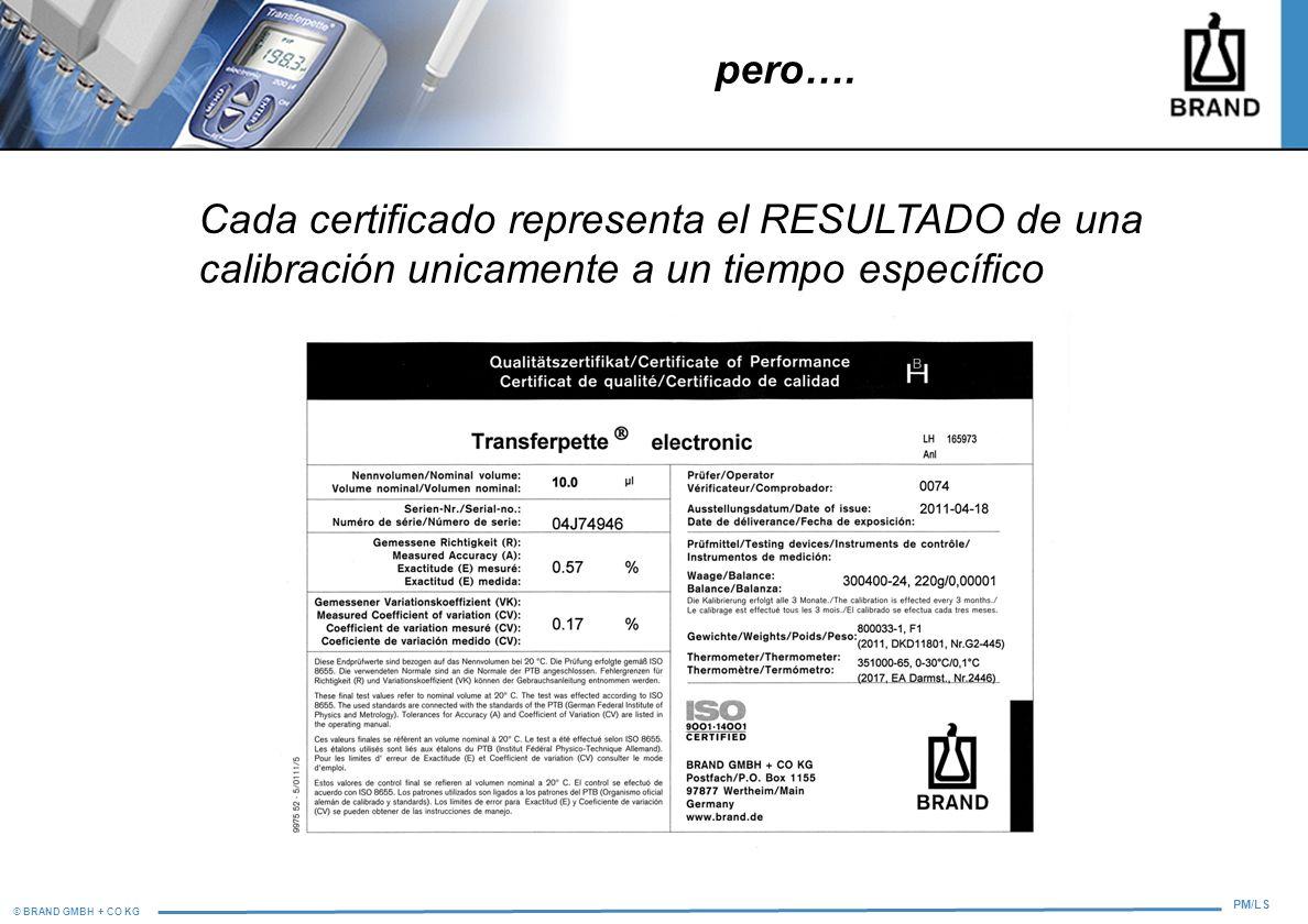 © BRAND GMBH + CO KG PM/LS Cada certificado representa el RESULTADO de una calibración unicamente a un tiempo específico pero….