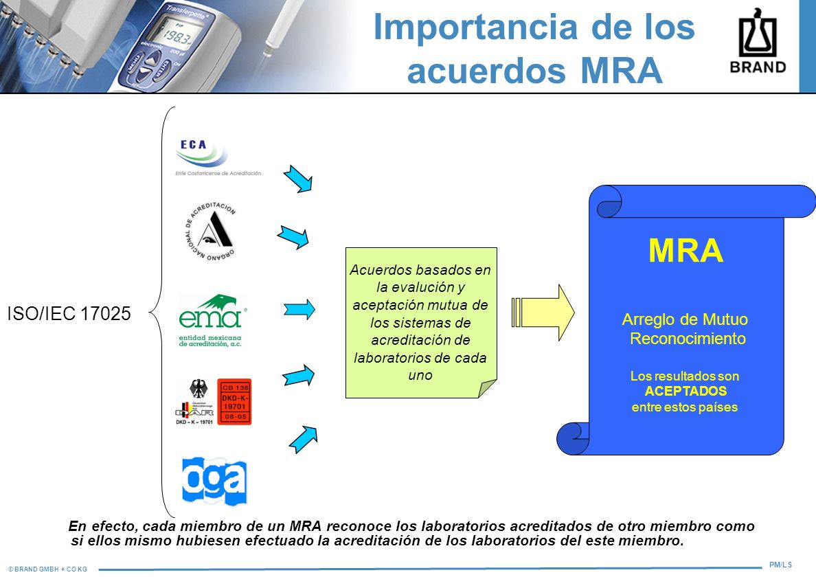 © BRAND GMBH + CO KG PM/LS Importancia de los acuerdos MRA En efecto, cada miembro de un MRA reconoce los laboratorios acreditados de otro miembro com