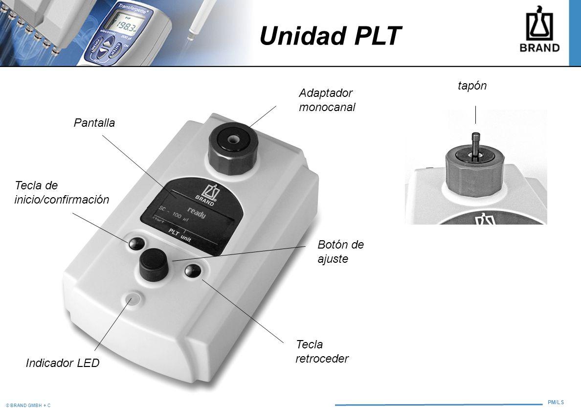 © BRAND GMBH + CO KG PM/LS Adaptador monocanal Pantalla Tecla retroceder Tecla de inicio/confirmación Botón de ajuste Indicador LED tapón Unidad PLT