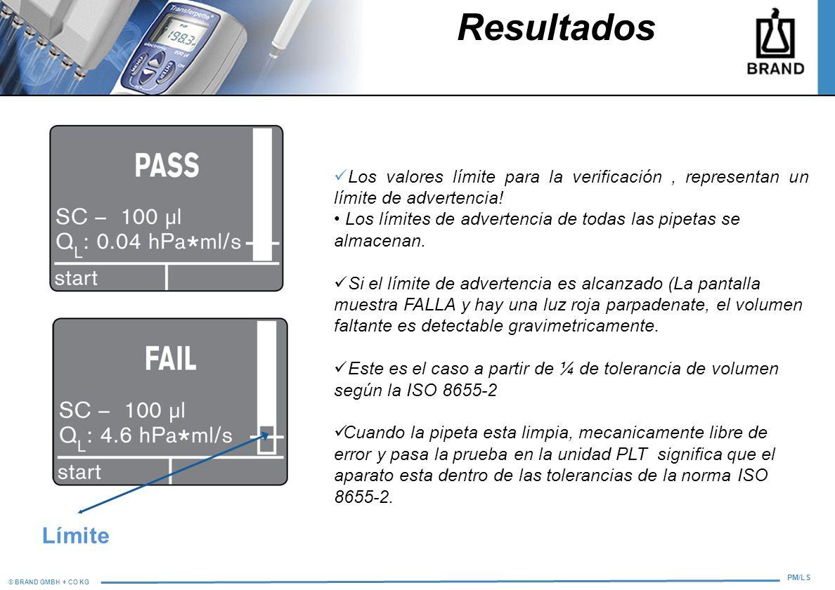 © BRAND GMBH + CO KG PM/LS Resultados Los valores límite para la verificación, representan un límite de advertencia! Los límites de advertencia de tod