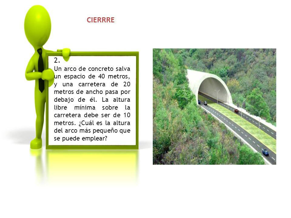 2. Un arco de concreto salva un espacio de 40 metros, y una carretera de 20 metros de ancho pasa por debajo de él. La altura libre mínima sobre la car