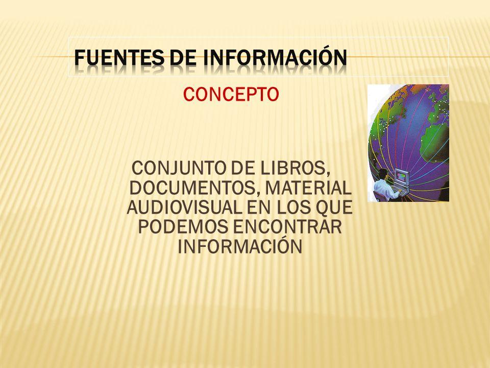 CONCEPTO CONJUNTO DE LIBROS, DOCUMENTOS, MATERIAL AUDIOVISUAL EN LOS QUE PODEMOS ENCONTRAR INFORMACIÓN