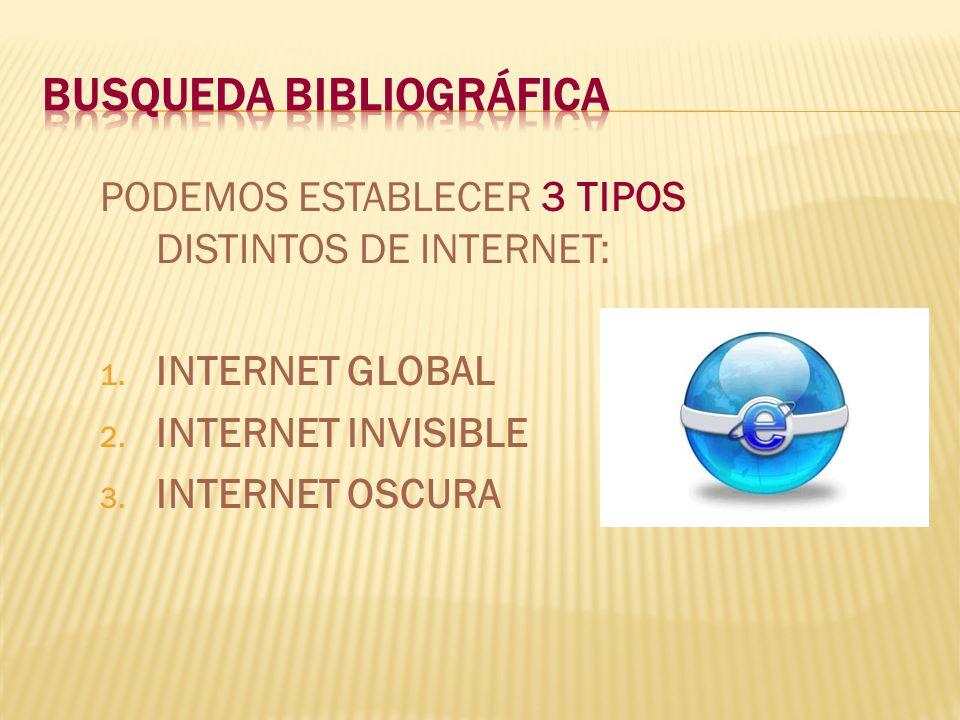 PODEMOS ESTABLECER 3 TIPOS DISTINTOS DE INTERNET: 1. INTERNET GLOBAL 2. INTERNET INVISIBLE 3. INTERNET OSCURA