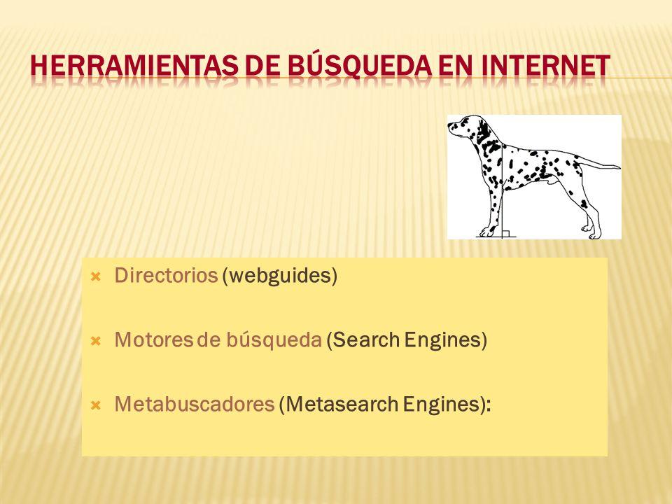 Directorios (webguides) Motores de búsqueda (Search Engines) Metabuscadores (Metasearch Engines):