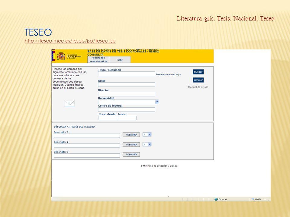 Literatura gris. Tesis. Nacional. Teseo TESEO http://teseo.mec.es/teseo/jsp/teseo.jsp http://teseo.mec.es/teseo/jsp/teseo.jsp