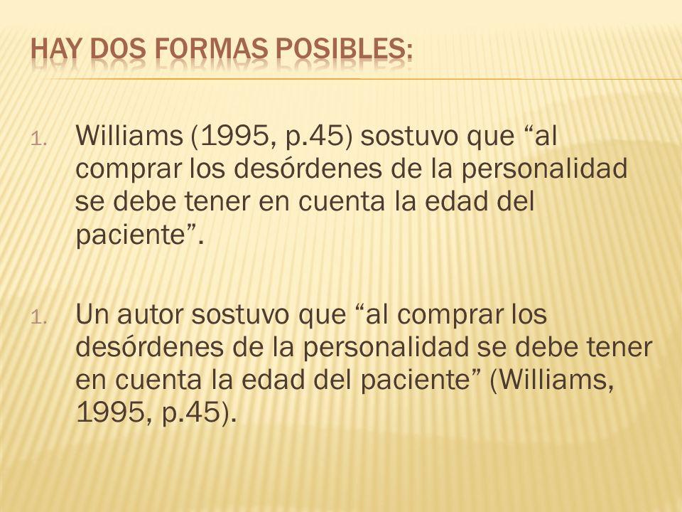 1. Williams (1995, p.45) sostuvo que al comprar los desórdenes de la personalidad se debe tener en cuenta la edad del paciente. 1. Un autor sostuvo qu