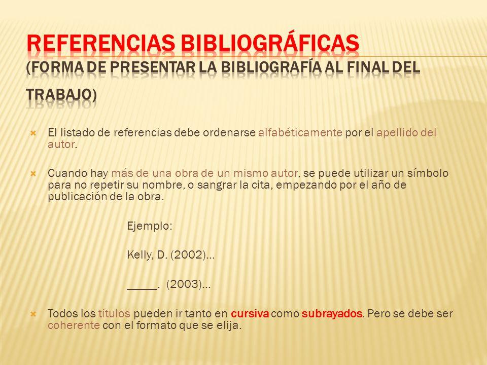 El listado de referencias debe ordenarse alfabéticamente por el apellido del autor. Cuando hay más de una obra de un mismo autor, se puede utilizar un