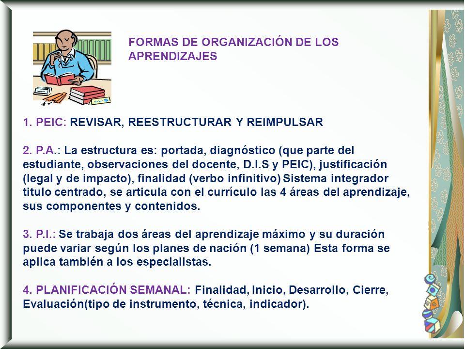 FORMAS DE ORGANIZACIÓN DE LOS APRENDIZAJES 1. PEIC: REVISAR, REESTRUCTURAR Y REIMPULSAR 2. P.A.: La estructura es: portada, diagnóstico (que parte del