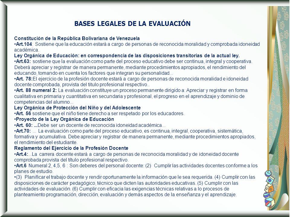 Constitución de la República Bolivariana de Venezuela Art.104: Sostiene que la educación estará a cargo de personas de reconocida moralidad y comproba