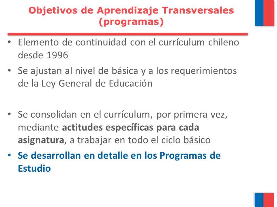 Elemento de continuidad con el currículum chileno desde 1996 Se ajustan al nivel de básica y a los requerimientos de la Ley General de Educación Se co