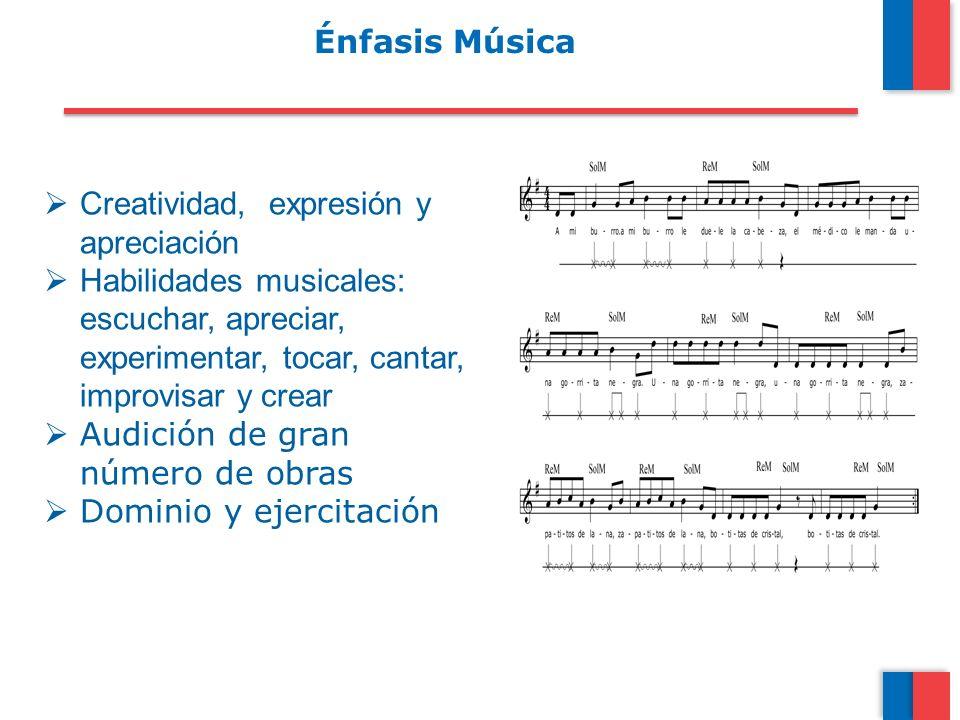 Énfasis Música Creatividad, expresión y apreciación Habilidades musicales: escuchar, apreciar, experimentar, tocar, cantar, improvisar y crear Audició