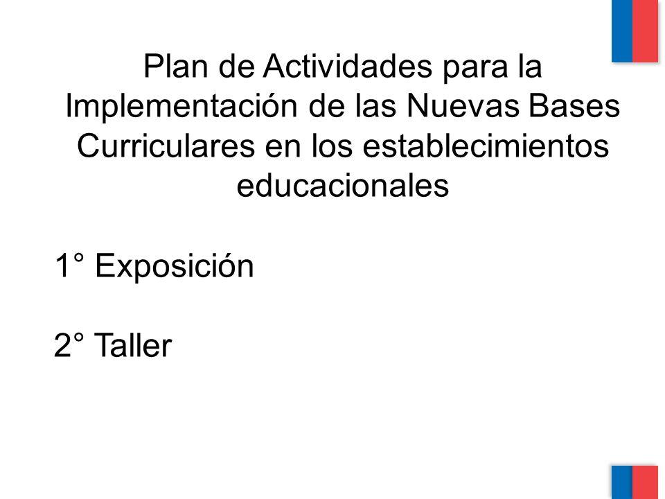 Plan de Actividades para la Implementación de las Nuevas Bases Curriculares en los establecimientos educacionales 1° Exposición 2° Taller