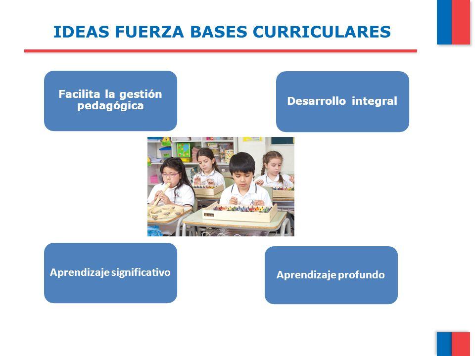 IDEAS FUERZA BASES CURRICULARES Facilita la gestión pedagógica Desarrollo integral Aprendizaje significativo Aprendizaje profundo