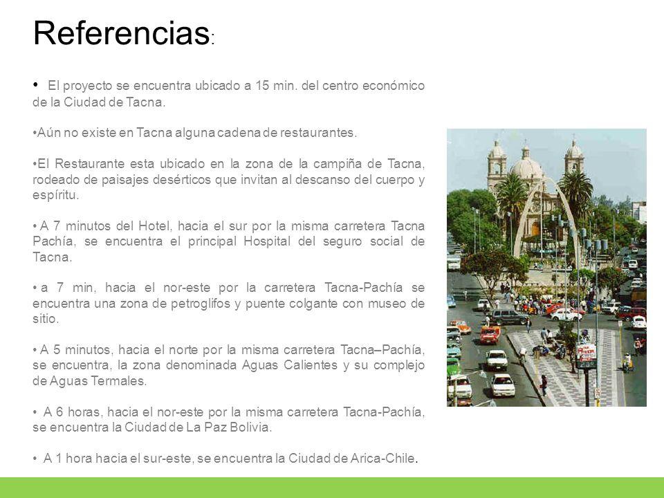 Referencias : El proyecto se encuentra ubicado a 15 min. del centro económico de la Ciudad de Tacna. Aún no existe en Tacna alguna cadena de restauran