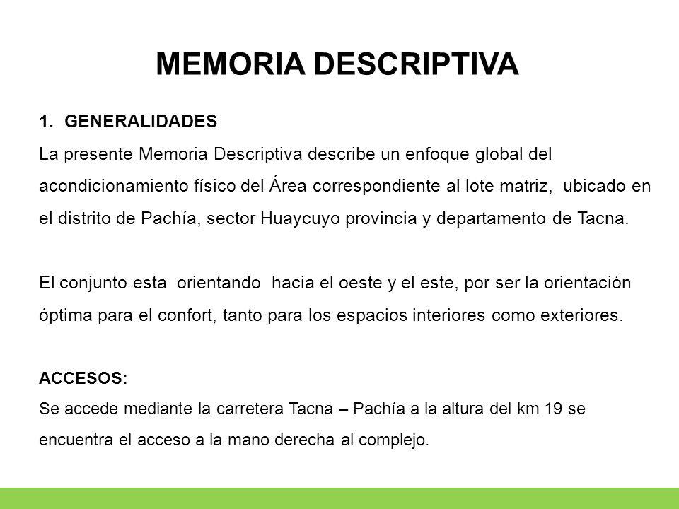 MEMORIA DESCRIPTIVA 1.GENERALIDADES La presente Memoria Descriptiva describe un enfoque global del acondicionamiento físico del Área correspondiente a