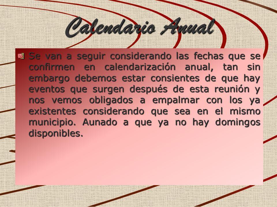 Calendario Anual Calendario Anual Se van a seguir considerando las fechas que se confirmen en calendarización anual, tan sin embargo debemos estar con