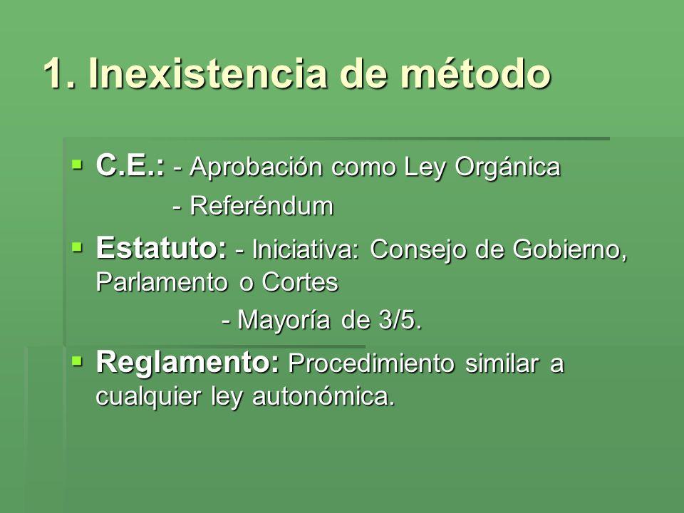 1. Inexistencia de método C.E.: - Aprobación como Ley Orgánica C.E.: - Aprobación como Ley Orgánica -Referéndum Estatuto: - Iniciativa: Consejo de Gob