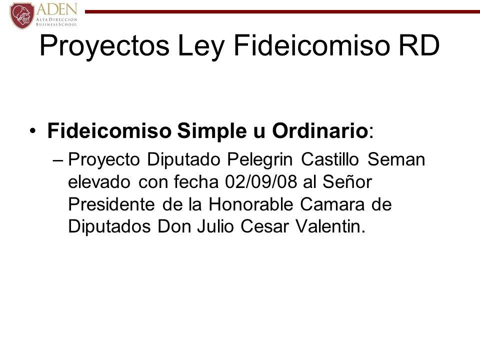Proyectos Ley Fideicomiso RD Fideicomiso Financiero: –Proyecto de Ley para el Desarrollo del Mercado Hipotecario elevado por el Lic.